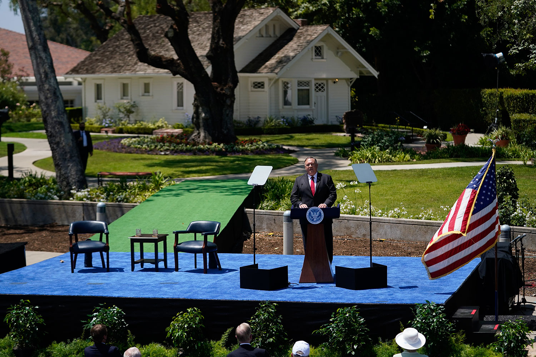 2020年7月23日,美国国务卿蓬佩奥在加州的理查德·尼克松总统图书馆发表对华演讲。(法新社)