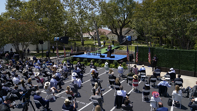 2020年7月23日,美国国务卿蓬佩奥在加州的理查德·尼克松总统图书馆发表对华政策讲话。(美联社)