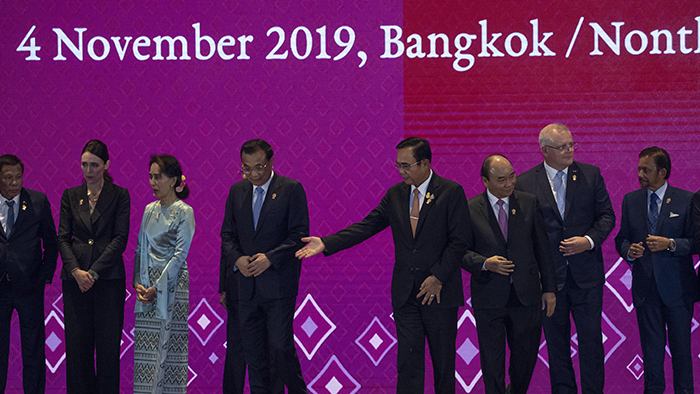 2019年11月4日,各国领导人在泰国曼谷出席东盟峰会。(美联社)