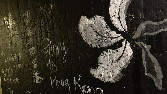 美国罗切斯特大学隧道里支持中国人权的画墙(罗切斯特大学学生提供)