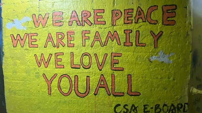 美国罗切斯特大学隧道里中国留学生覆盖原有涂鸦的画墙(罗切斯特大学学生提供)