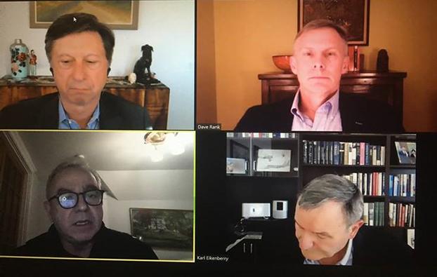 """1月14日,即将在拜登政府出任国安会""""印太事务协调员""""的坎贝尔(Kurt Campbell)(左下)出席亚洲协会举办的 """"美中未来""""讨论会。(视频截图)"""