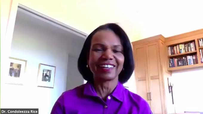 美国前国务卿莱斯(Condoleezza Rice)6月30日参加胡佛研究所视频活动(胡佛研究所视频活动截图)