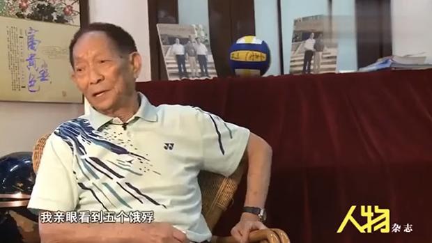袁隆平2013年接受《人物》杂志采访时,谈及他在大跃进期间看到饿殍。(YouTube截图)