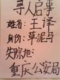 图片:王译并非第一次因声援行动被警方强行押送,网友们曾发出寻人帖。 (网友上传/丁小)