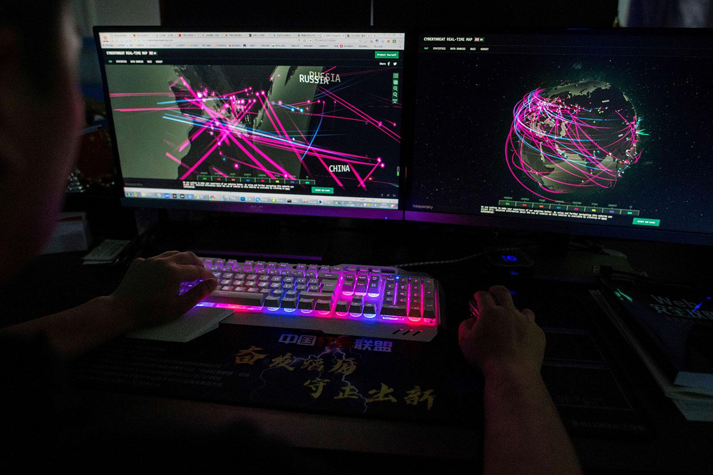 2020年9月11日,普林斯(Prince)是黑客组织Red Hacker Alliance的成员,他拒绝提供真实姓名,该网站使用位于中国广东省东莞市办公室监控其计算机全球网络攻击的网站。(AFP)