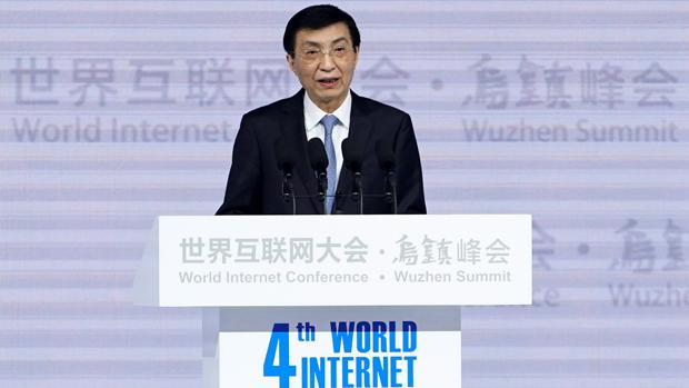 2017年12月3日,中共政治局常委王沪宁在第4届世界互联网大会致辞。(路透社)
