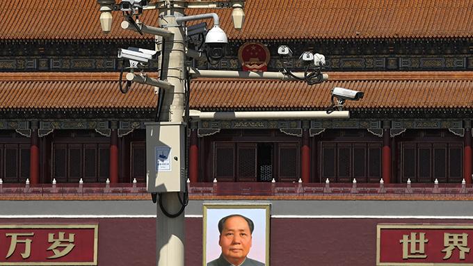 设在北京天安门广场的部分监控摄像头(美联社)