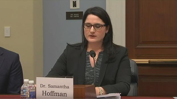 澳大利亚战略政策研究所客座研究员霍夫曼(Samantha Hoffman)在听证会上作证。 (视频截图)