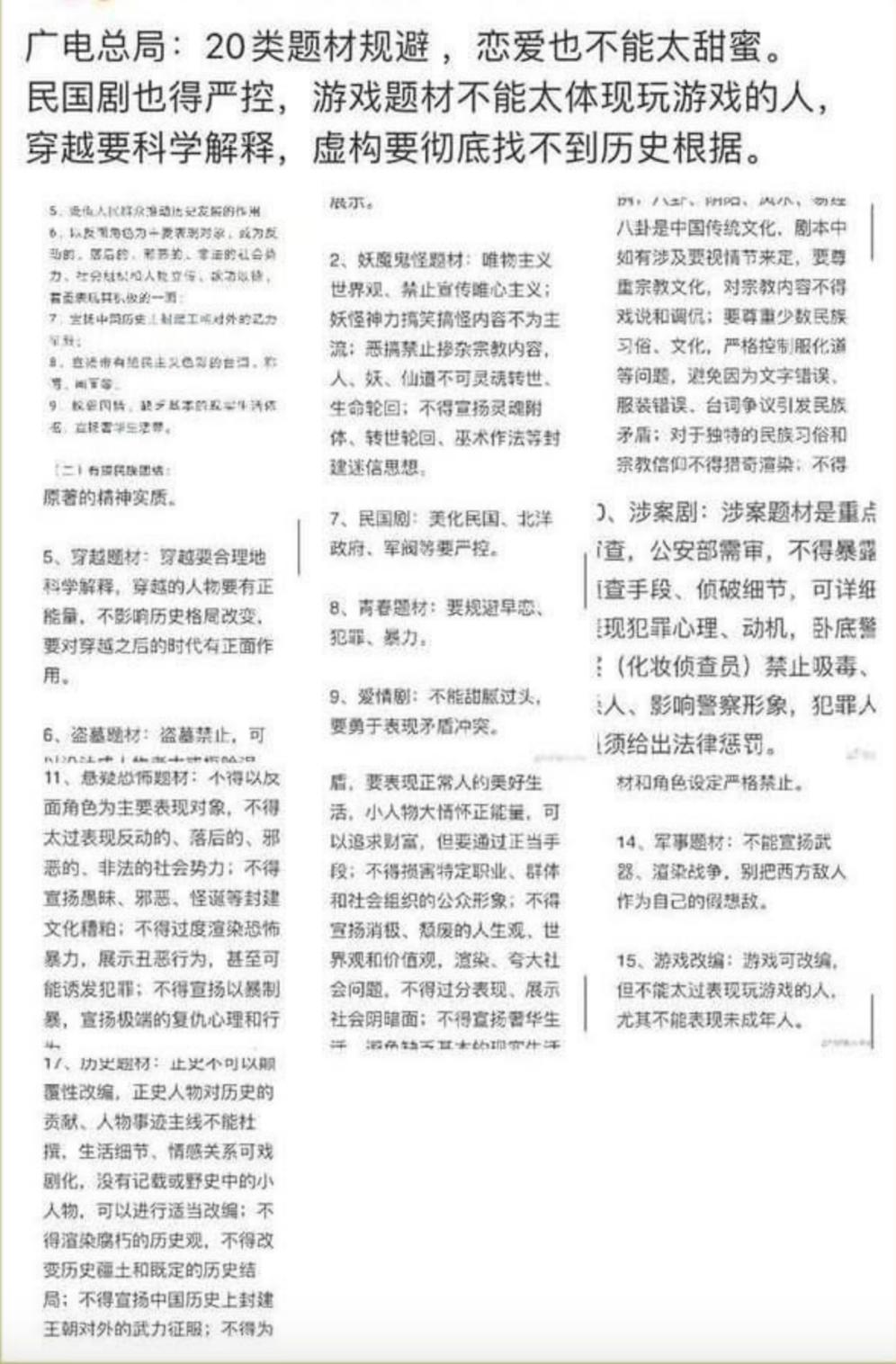微博传出广电总局祭出20条影视内容禁令。(微博/夏小华提供)