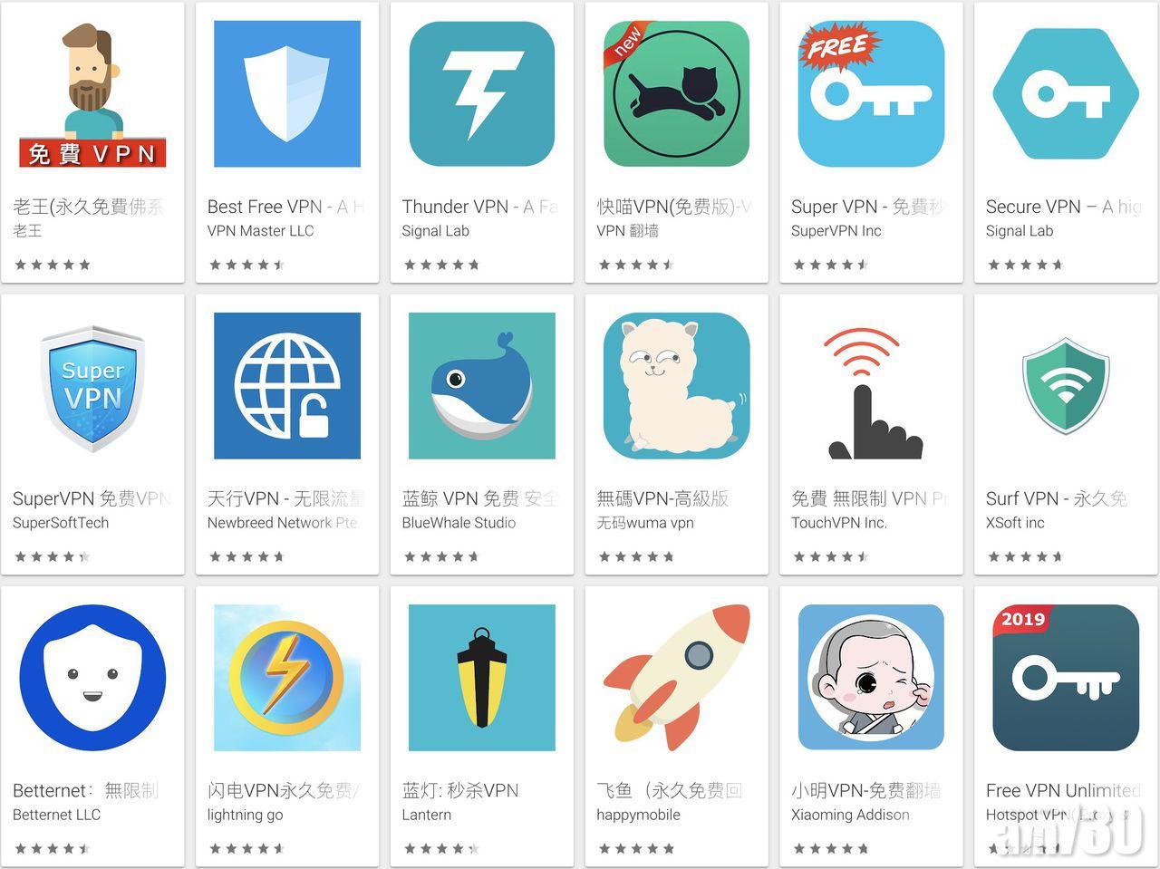 全世界约六成免费VPN程式来自中国。(网络图片)