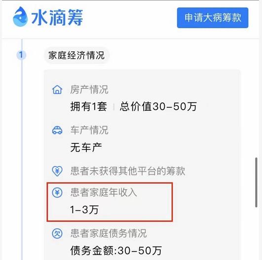 李丹的家庭收入和债务情况。(来自搜狐)(photo:RFA)