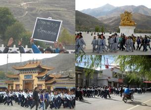 图片:青海发生藏族学生发起游行后,当局表示在研究解决办法(网络图片/乔龙制作)