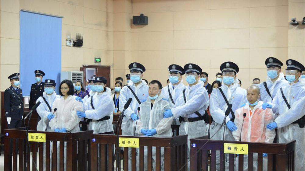宣判现场,陈杰人(中)。(图源:湖南省桂阳县人民法院网站)