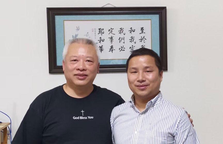 被捕的广州教会义工高恒(右)估计已遭刑事拘留。(黄永祥独家提供,拍摄日期不详)