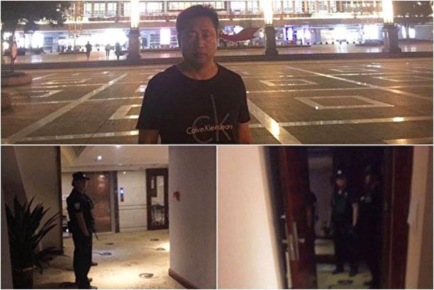 2019年9月26日,谢阳和另一湖南公民专程到衡阳寻求协助王美余的家人,却在酒店被警方持枪软禁10多个小时。(推特图片)