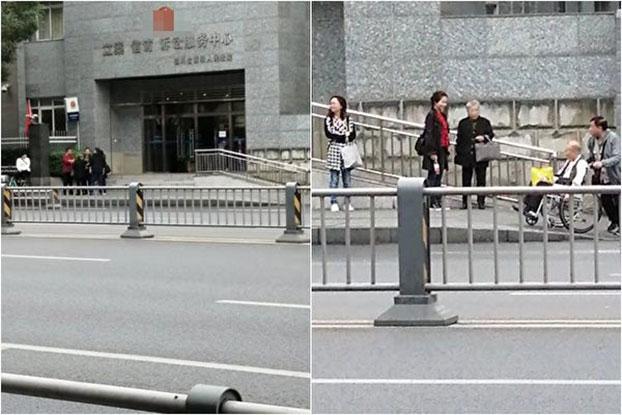 2019年10月14日,黄琦家属到四川高院递交二审材料,受到国保警察严密监控。(武素云提供)