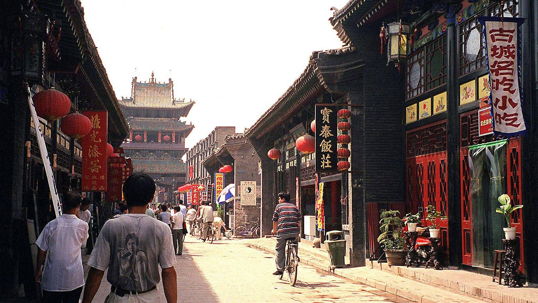 资料图片:山西省平遥古城街道。(法新社)