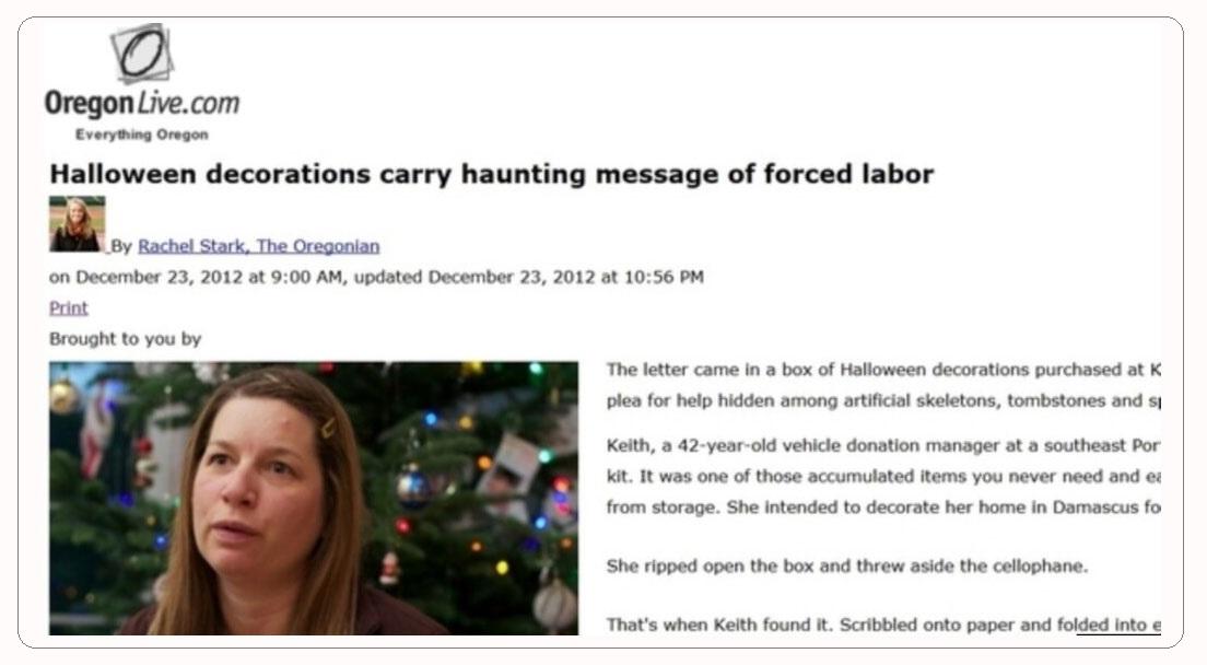 2012年12月23日,勒冈人报有关沈阳劳教所求救信的报道。(俄勒冈人报网页截图)