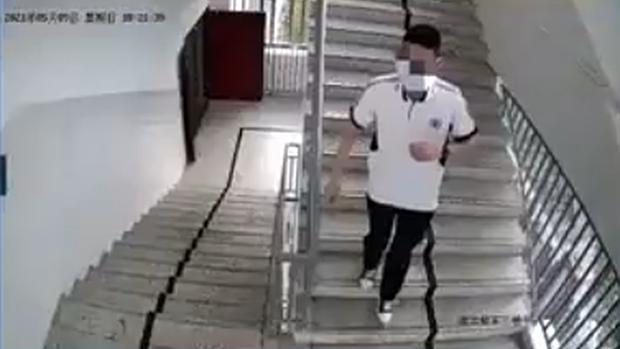 中國官方媒體央視5月13日播放的監控視頻片段(視頻截圖)