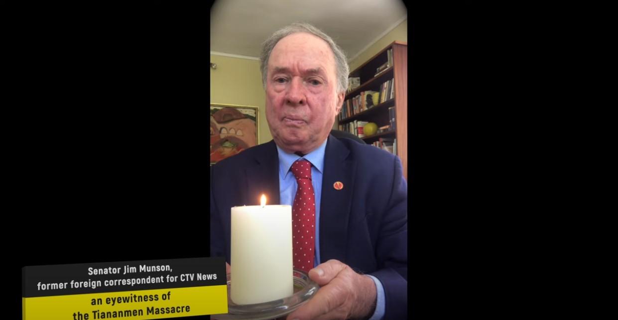 加拿大参议员吉姆·穆森(Jim Munson)当年亲眼见证天安门屠杀。 (网路截图)