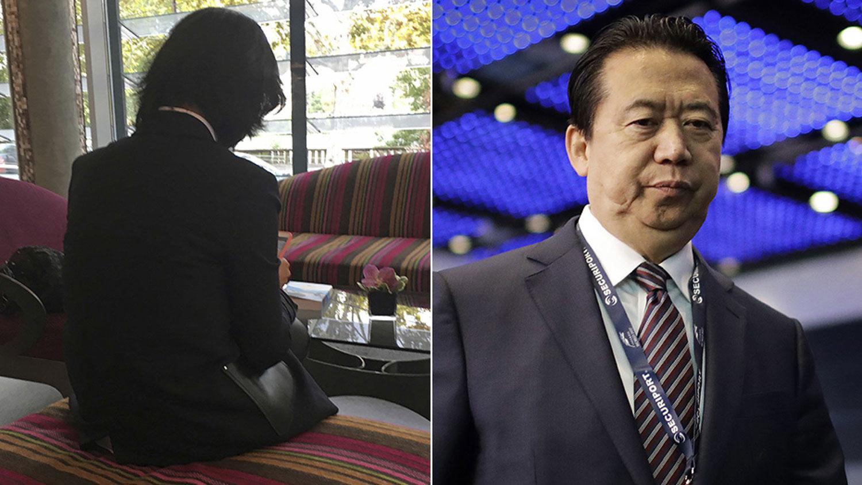 右图:原中国公安部副部长兼国际刑警组织主席孟宏伟;左图:孟宏伟妻子(Grace Meng)。(AP)