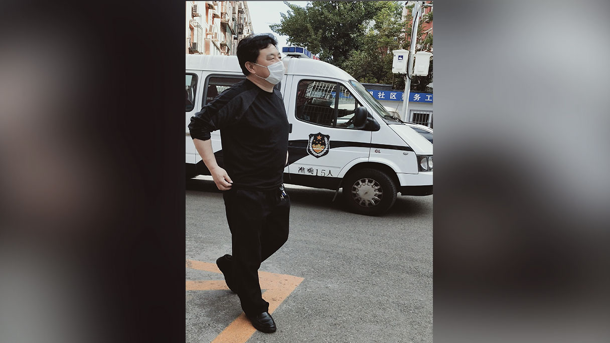 北京圣爱团契教会长老徐永海被软禁,楼下有便衣公安驻守。(当事人提供/记者乔龙)