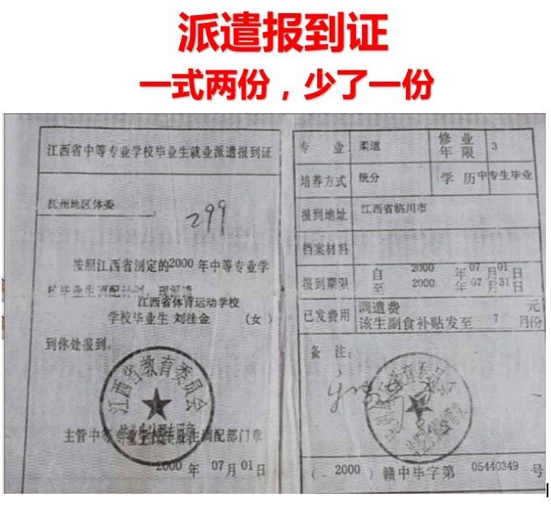 刘桂金毕业派遣报道证,一式两份,另一份离奇失踪。(当事人提供/记者乔龙)