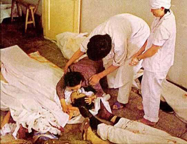 1989年6月4日大屠杀之夜平民伤亡 。(六四档案图)