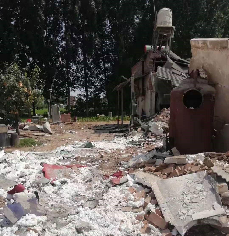 长垣县西梨园村一养殖场被拆。(当事人提供/记者乔龙)