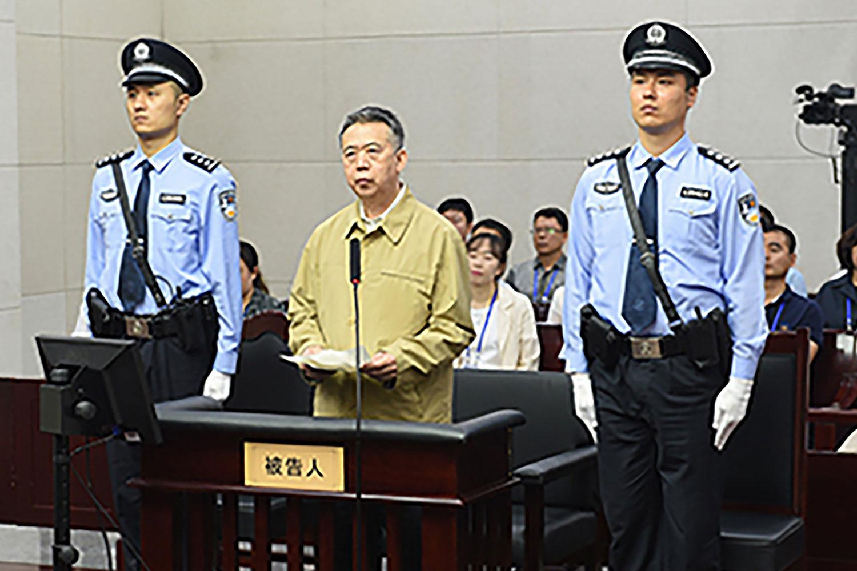 国际刑警组织主席、中国公安部前副部长孟宏伟受贿案,2019年6月20日在天津中级法院开庭审理。(法新社)