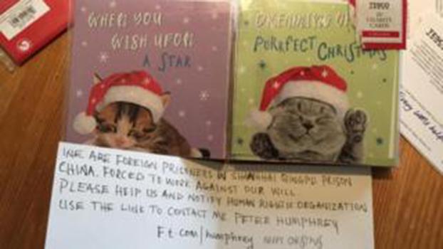 居住在伦敦的一名6岁女童维迪柯姆(Florence Widdicombe)在英国连锁超市特易购(Tesco)购买了套装慈善贺卡却写了求救信。(Public Domain)