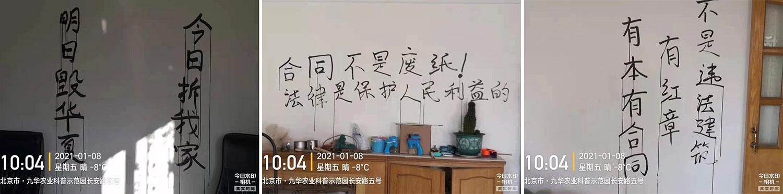 小区留守者在墙壁上书写的抗争标语。照片拍摄于2021年1月8日。(小区业主提供,独家首发)