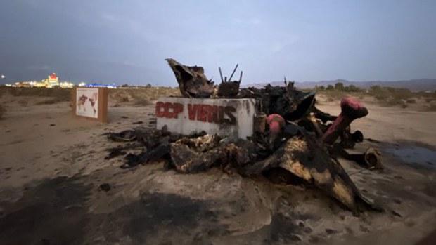"""数十团体联署  就""""中共病毒""""雕塑被焚事件发声"""