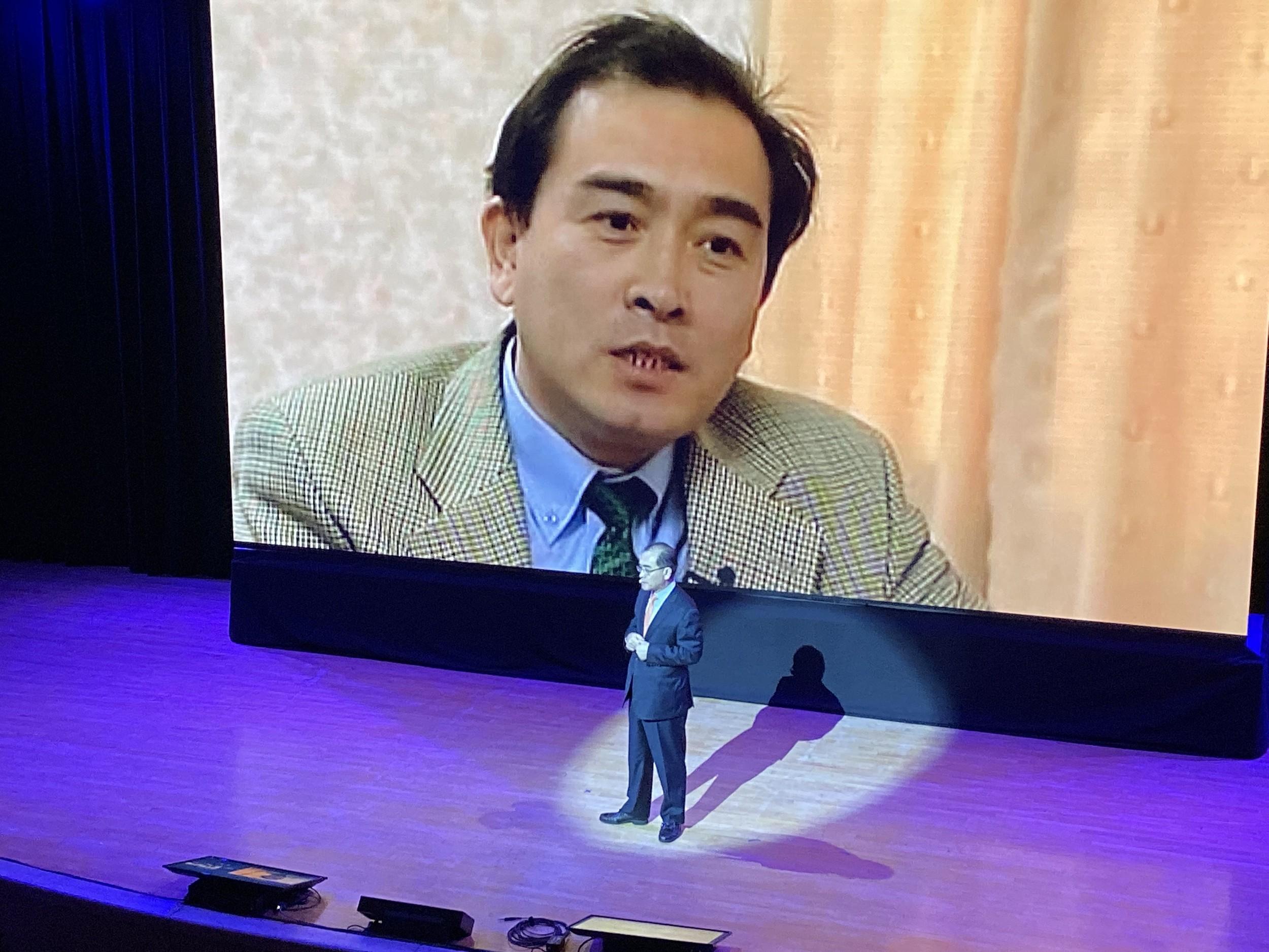 10月23日在纽约召开的奥斯陆自由论坛,前朝鲜驻英国公使发表演说。(王允摄影)