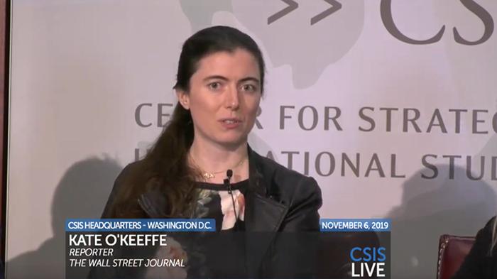 《华尔街日报》记者凯特·奥克菲(Kate O'Keeffe)在研讨会上讲话(记者王允摄影)