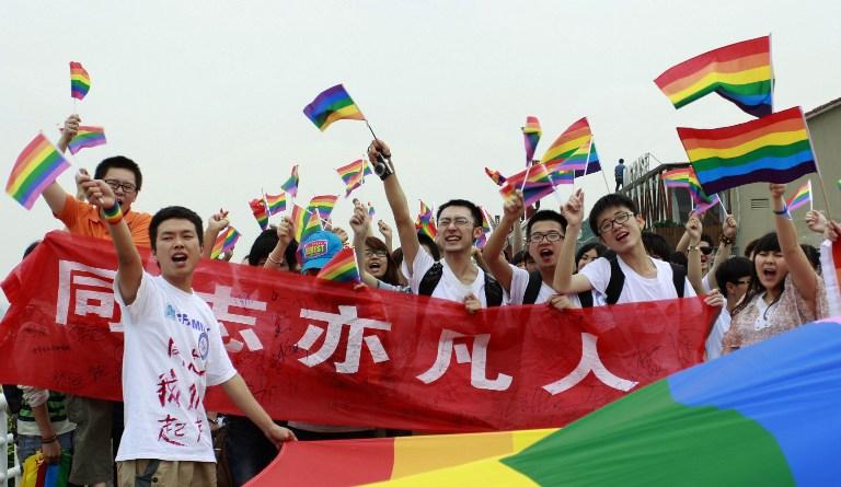 图片: 在湖南长沙举行的同性恋反歧视游行。 (法新社资料图片)