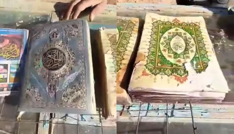《古兰经》装在塑料袋内,完好无损。(视频截图)