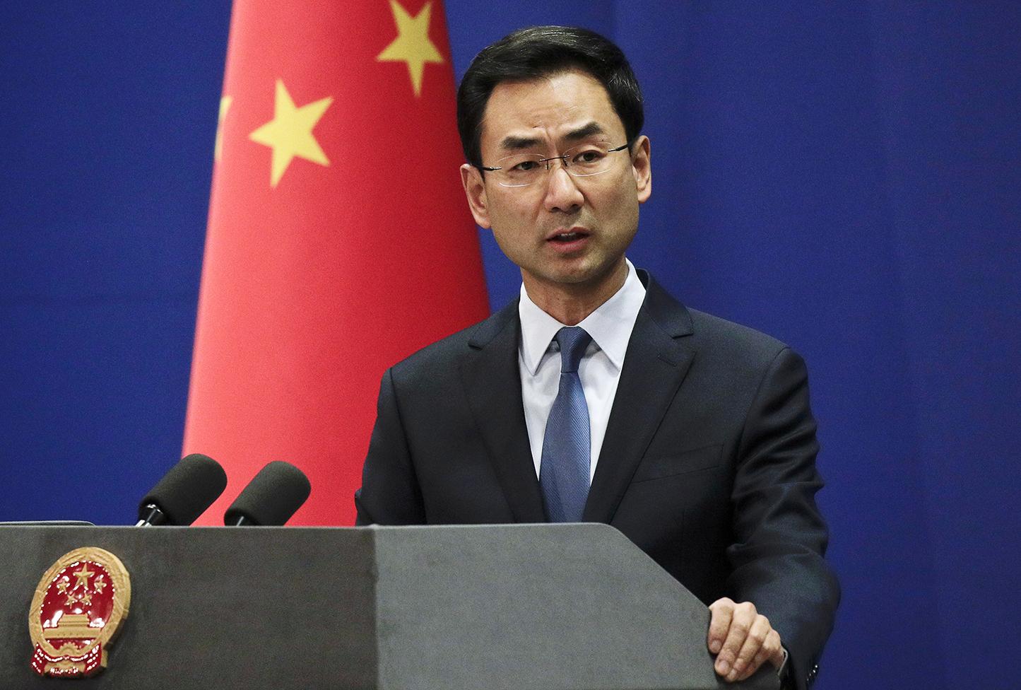 中国外交部发言人耿爽表示中国邀请联合国反恐事务副秘书长沃伦科夫访问新疆。(美联社)