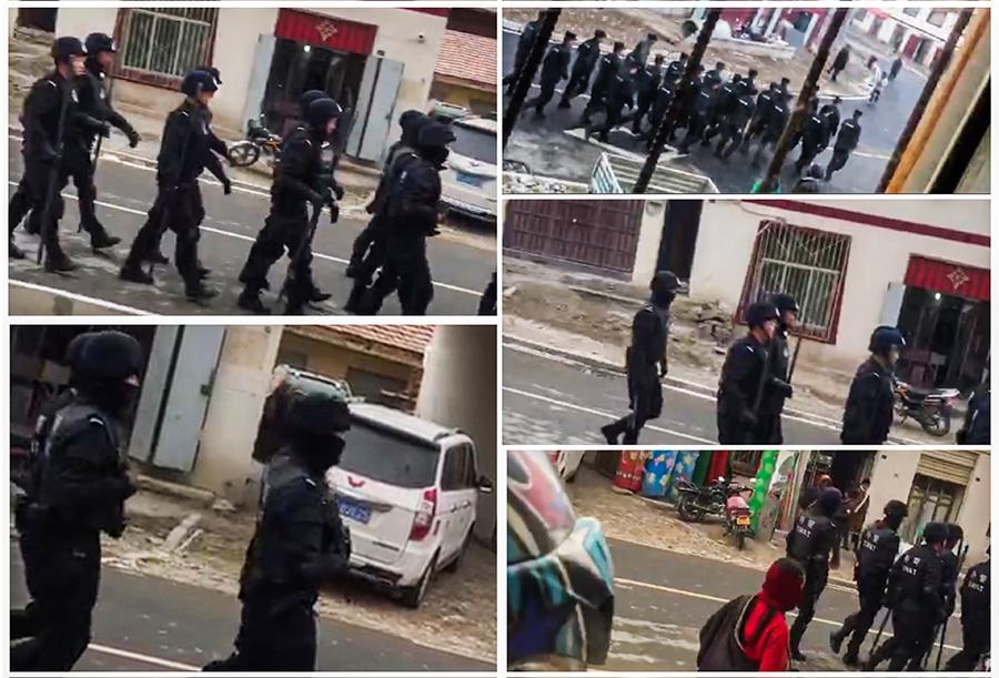 军警在石渠县温波境内列队巡逻时(受访人提供)
