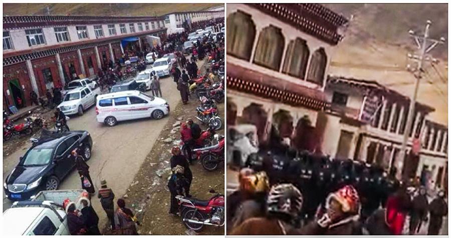 石渠县温波境内发生示威抗议之前及之后(受访人提供)