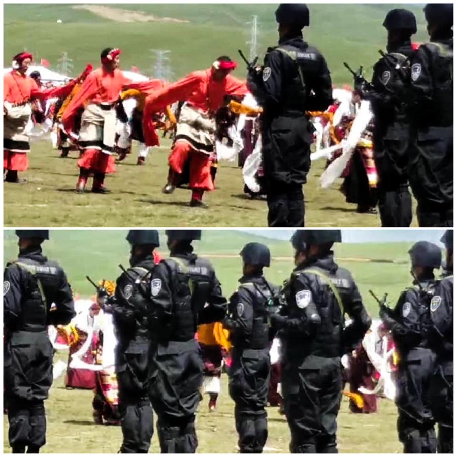 康区藏人近日展开娱乐活动时被持枪特警监控 (脸书 / 消息人士提供)