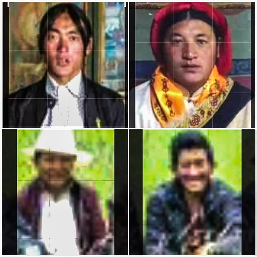 西藏那曲被捕藏人(上左起)诺桑、斯塔旺杰、央培、杜堆拉杰 (消息人士提供)
