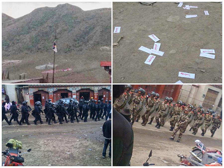 石渠县温波乡小学于2012年两次被取下中国国旗后升起藏旗并撒传单示威,自此遭军警严控(受访人提供)