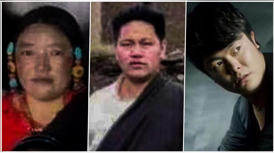 (左起)西藏比如县遭虐杀的拉姆、被拘捕的丹增塔巴和被判刑的歌手伦珠扎巴(西藏青年会提供)