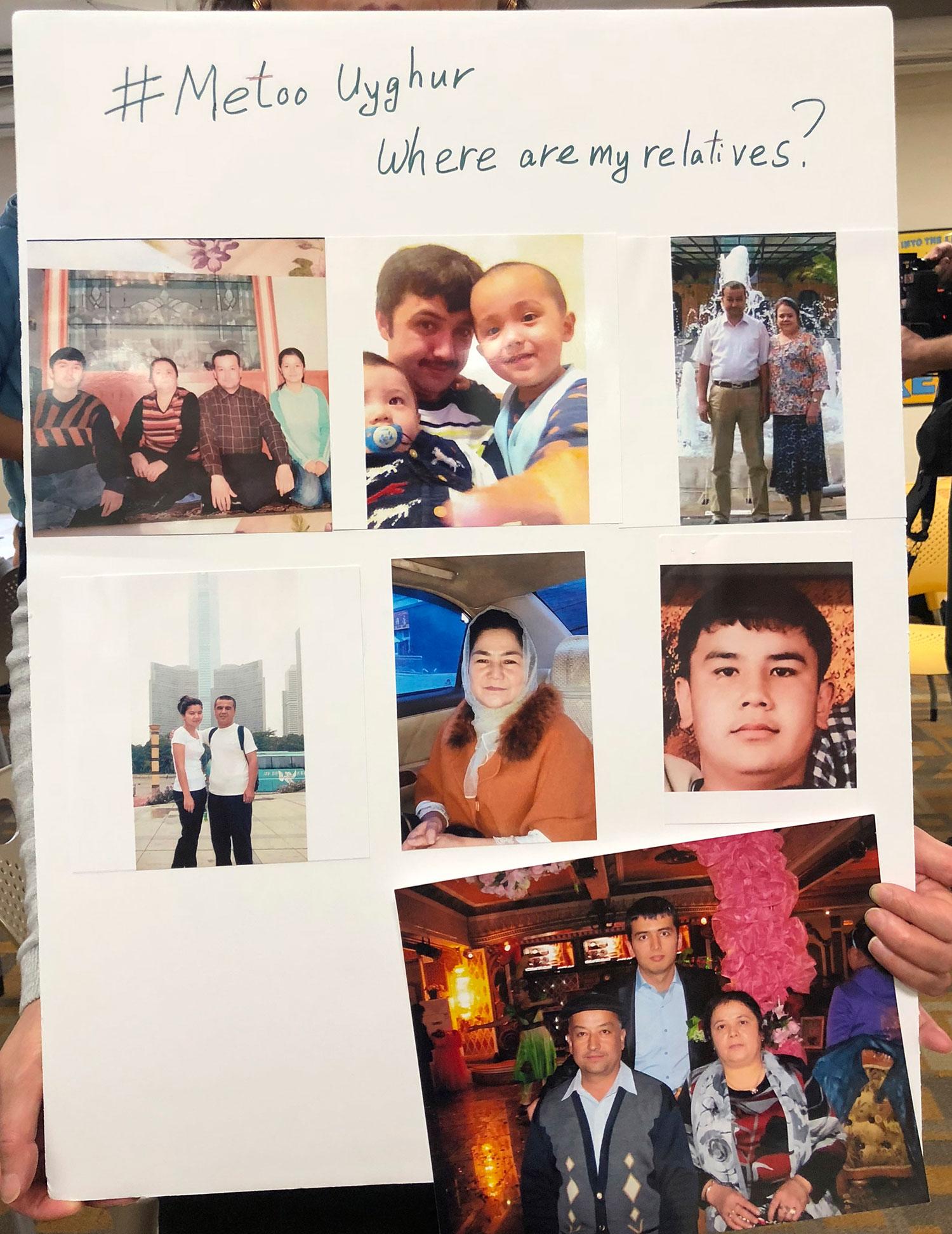 2019年2月24日,美国华盛顿特区一次集会中,展示了一维吾尔族人在中国失踪亲人的海报。(资料图/美联社)