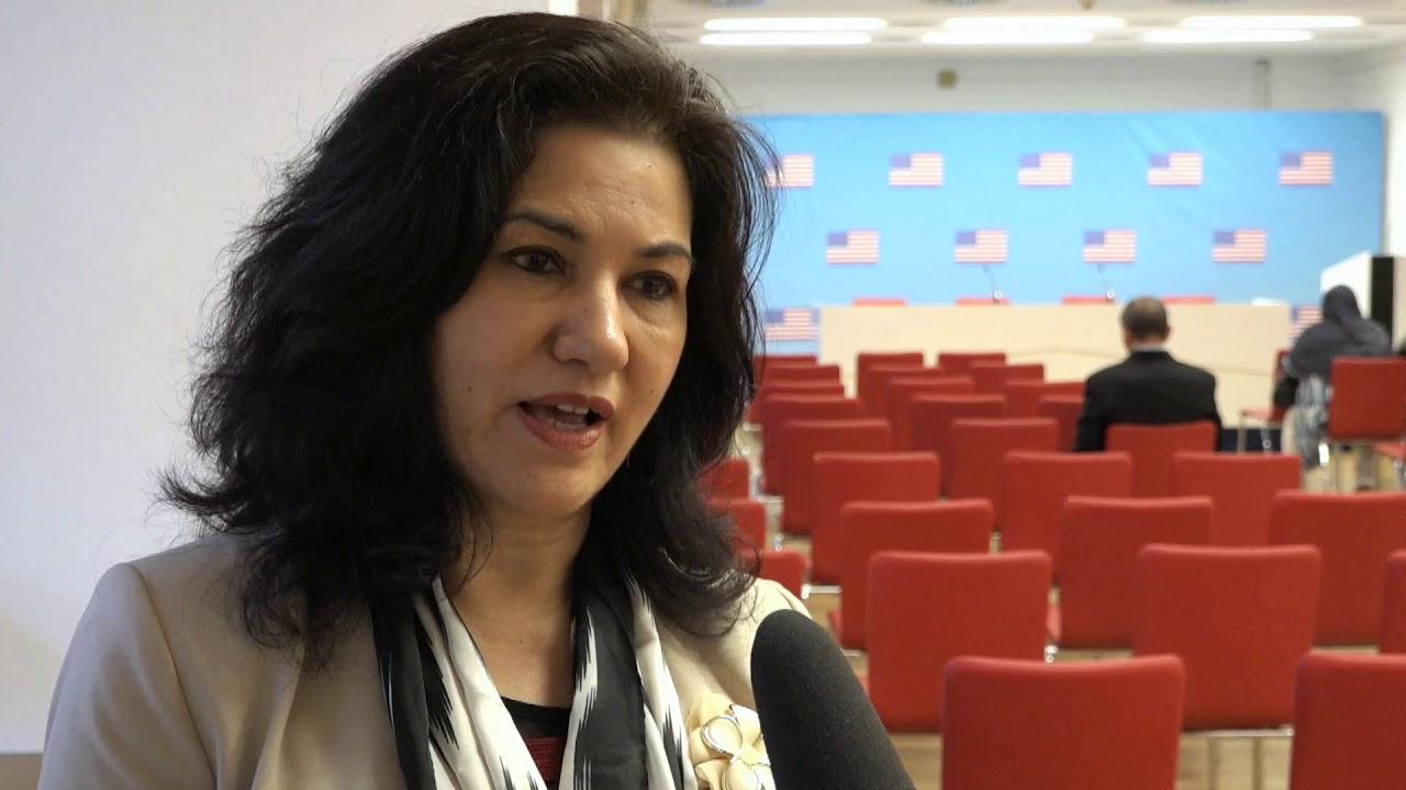 美国维吾尔人权活动人士罗珊·阿巴斯(Rushan Abbas)。(视频截图)