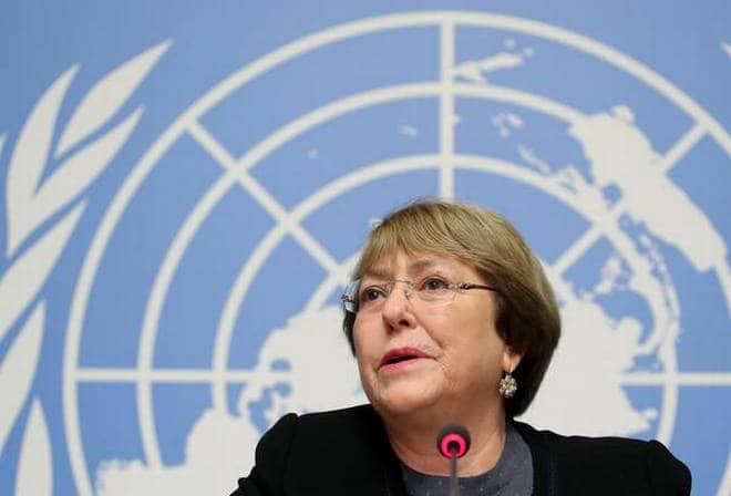 联合国人权高级专员米歇尔•巴切莱特(Michelle Bachelet)出席瑞士日内瓦联合国新闻发布会。(路透社)