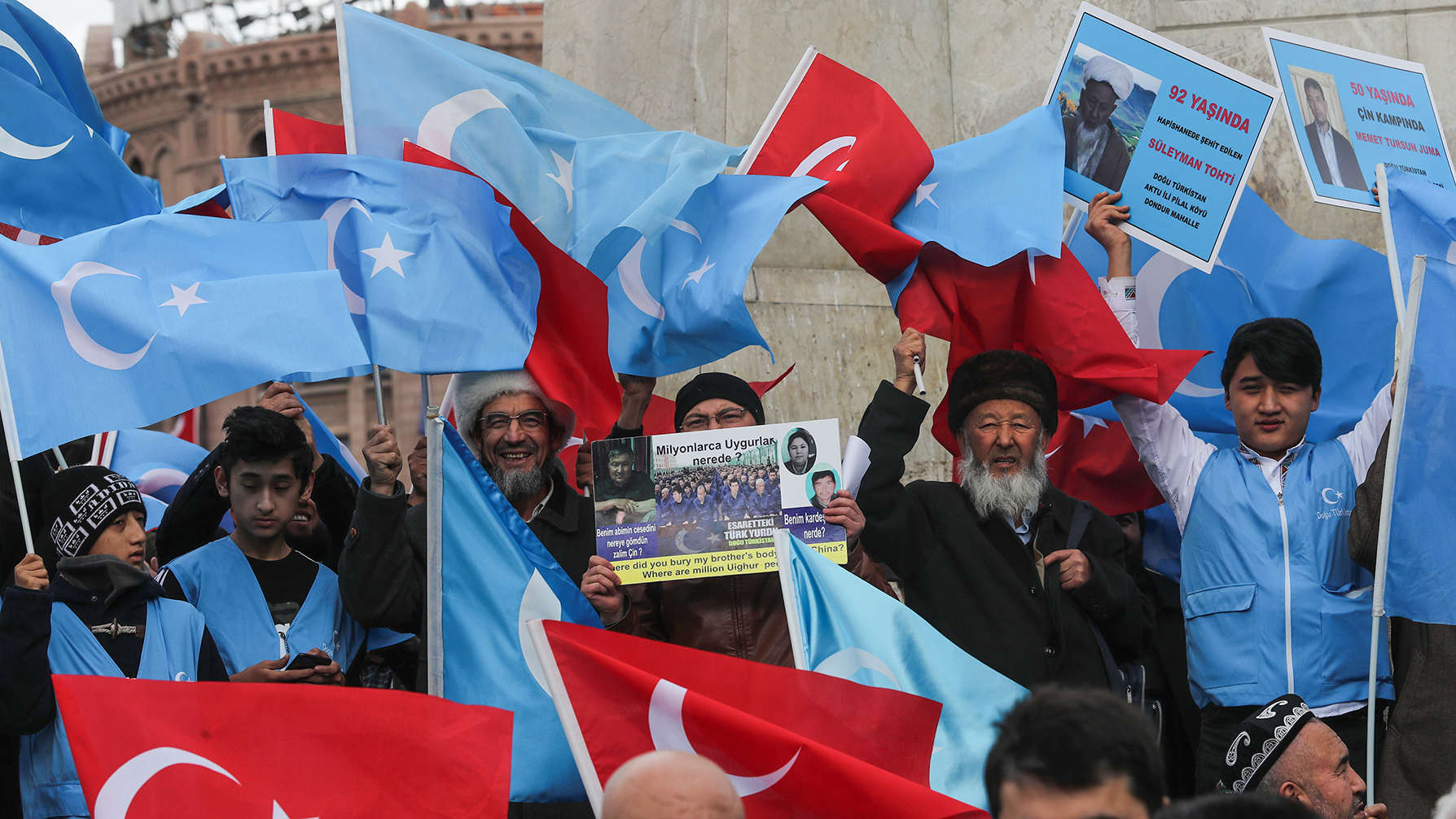 2020年2月5日,住在土耳其的维吾尔人在抗议中国政府。(法新社)