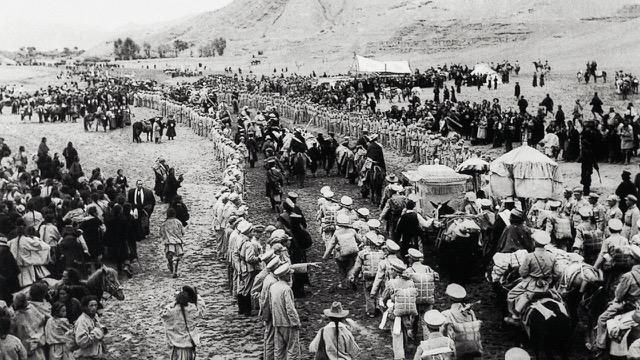 五零年代中国解放军进入西藏。(达赖喇嘛西藏宗教基金会提供)